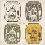 Grunge vintage vector labels of whiskey  home alcohol machin Royalty Free Stock Photos