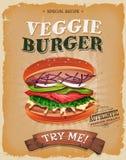 Grunge And Vintage Vegetarian Burger Poster Royalty Free Stock Image
