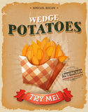 Grunge And Vintage Wedge Potatoes Poster Stock Images