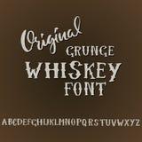 Grunge vintage whiskey font. Old handcrafted display skript. Modern brush label lettering. Vector typography Royalty Free Stock Image