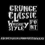 Grunge vintage whiskey font. Old handcrafted display skript. Modern brush label lettering. Vector typography Royalty Free Stock Photo