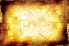 Grunge vintage yellow painted canvas Royalty Free Stock Photo