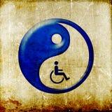Yin yang symbol represent oriental medicine. Grunge vintage Yin yang symbol Chinese medicine represent oriental medicine Royalty Free Stock Image