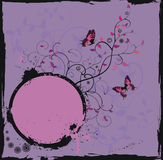 Grunge violet floral frame with butterflies. Vector illustration in EPS format vector illustration