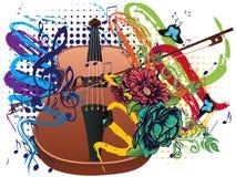 Grunge Violin Illustration Stock Photos