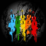 Grunge violins background. Grunge background with colored violins and paint Stock Photo
