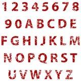 Grunge volledige alfabet en aantallen Stock Foto's