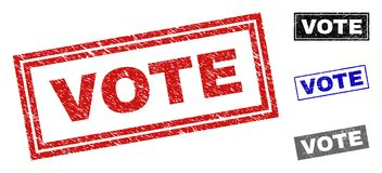 Grunge VOTE Scratched Rectangle Watermarks royalty free illustration
