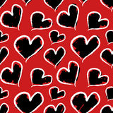 Grunge walentynki serca bezszwowy wzoru Obraz Royalty Free