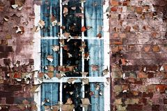 Grunge wall. With window and peeling paint Royalty Free Stock Photography
