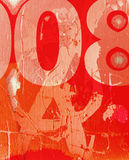 Grunge-wall. The red scratchy wall with a numbers Royalty Free Stock Images