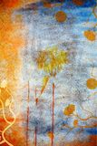 Grunge wall background with daisies. Blue and orange grunge border with paint stains and design details from my illustrations Stock Photography