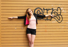 Grunge wall with girl background. Horizontal composition Stock Photography