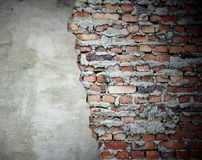 Grunge wall old and new stock photography