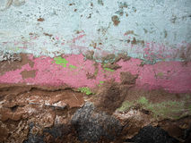 Grunge wall. With peeling green, pink and white paint - Brazil Stock Photo