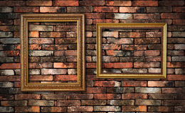 Grunge wall and two frames Royalty Free Stock Images