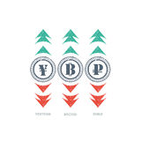 Grunge waluty znaka ikona z zielenią i czerwienią w górę i na dół strzała Obraz Stock