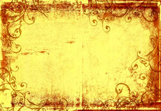 Grunge warm photographic frame. Grunge warm frame with scrolls and stone texture for photo editing Stock Photos