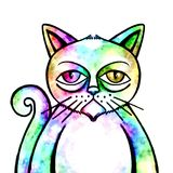 Grunge Watercolor Cat Portrait. A grumpy looking grunge style cat portrait Stock Image