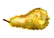 Grunge watercolor pear stock photos