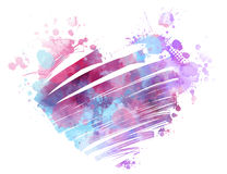 Grunge watercolored heart Royalty Free Stock Photos