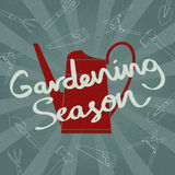 Grunge watering can silhouette with Hand sketched Gardening season lettering. Vector illustration. Royalty Free Stock Image