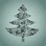 Runge Web Christmas Tree Greeting Card. Grunge Web Christmas Tree Greeting Card made of spider-web-like structure on blue gradient background. Illustration is in Royalty Free Stock Image
