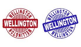 Grunge WELLINGTON Textured Round Stamp Seals ilustração stock