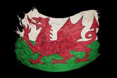 Grunge Welsh flag. Welsh flag with grunge texture. Brush stroke. Brush stroke Royalty Free Stock Photo