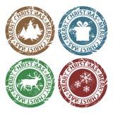 Grunge Wesoło Bożych Narodzeń znaczki Fotografia Royalty Free