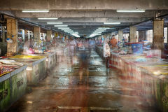 Grunge Wet Market Kedai Payang motion abstract old historic building. Famous historic market soon to be replace by modern shopping complex and hotel Stock Image