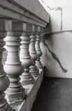 Grunge white balcony. Old abstract grunge white balcony decoration at general asia people home Stock Photo