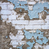 Grunge White Brick Wall Painted by Blue Color Royalty Free Stock Photo