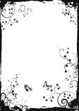 Grunge white floral frame with butterflies Stock Photography