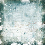 Grunge white green scratched wall with graffiti Royalty Free Stock Images