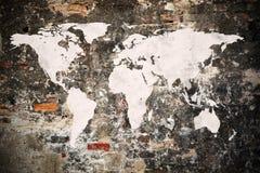 Grunge Światowa mapa Zdjęcia Royalty Free