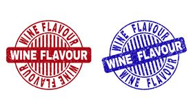 Grunge WINE FLAVOUR Scratched Round Watermarks. Grunge WINE FLAVOUR round stamp seals isolated on a white background. Round seals with distress texture in red stock illustration