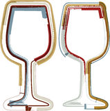 Grunge wineglasses Stock Photo