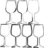 Grunge wineglasses Stock Image