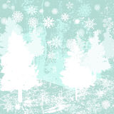 Grunge winter background with pine and mountains Stock Image