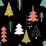 Grunge Winter Forest Seamless Pattern. Colorful funny Christmas seamless pattern with trees. Hand drawn grunge brush winter forest background Stock Photos
