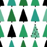 Grunge Winter Forest Seamless Pattern. Colorful funny Christmas seamless pattern with trees. Hand drawn grunge brush winter forest background Royalty Free Stock Images