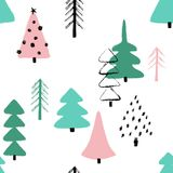 Grunge Winter Forest Seamless Pattern. Funny Christmas seamless pattern with trees. Hand drawn grunge brush winter forest background Royalty Free Stock Photos