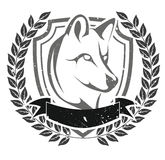 Grunge wolf head emblem. Vector illustration background Royalty Free Stock Photography