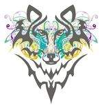 Grunge wolf head. Tribal wolf head with colorful floral elements splashes Stock Photo