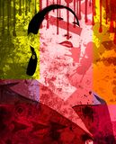 Grunge woman illustration stock photo