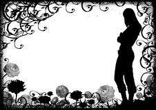Grunge woman shape on daisy and scrolls background Stock Photography