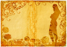 Grunge woman shape on daisy and scrolls background Stock Photos