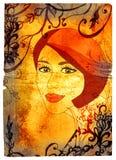 Grunge woman on swirls texture Stock Photography