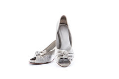 Grunge women shoes on whit background Royalty Free Stock Images